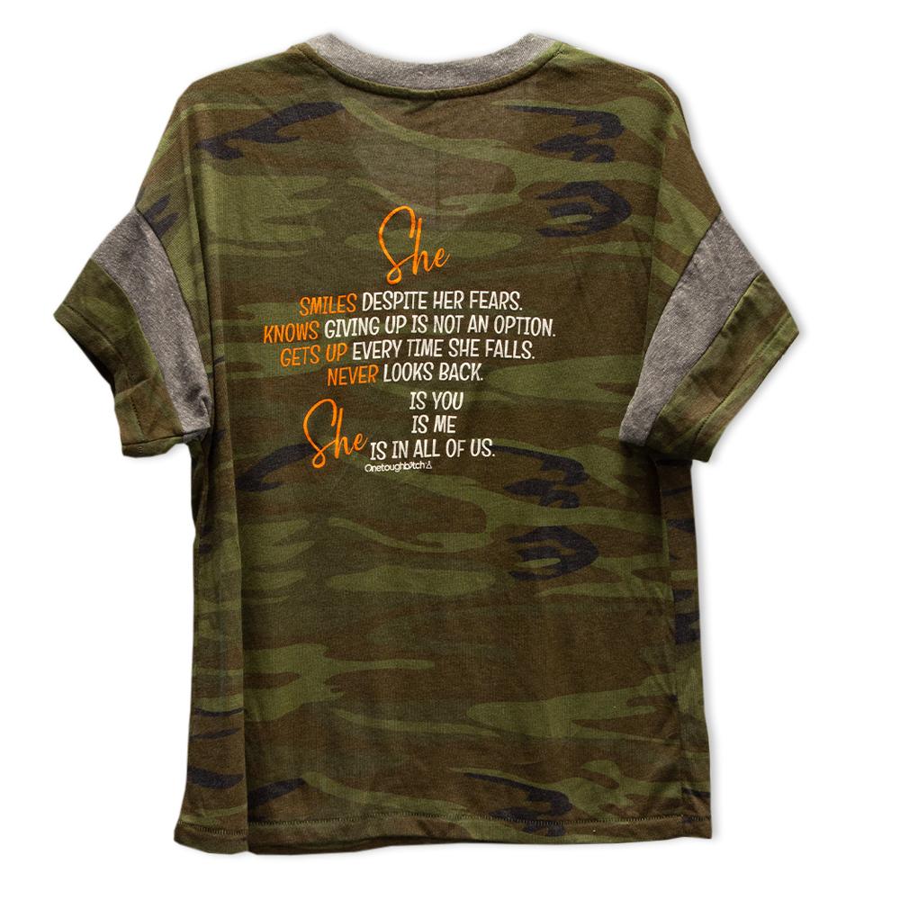 One Tough Bitch She T-shirt camo, back