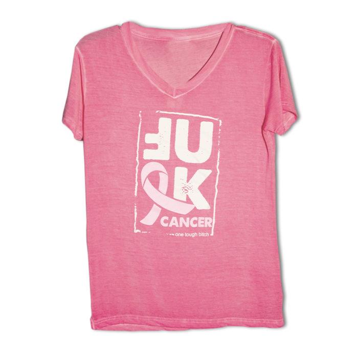 One Tough Bitch Fuck Cancer V-neck T-shirt